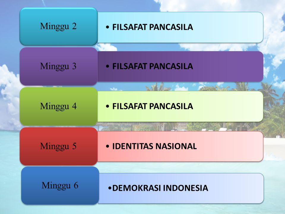 FILSAFAT PANCASILA Minggu 2. Minggu 3. Minggu 4. IDENTITAS NASIONAL. Minggu 5. DEMOKRASI INDONESIA.