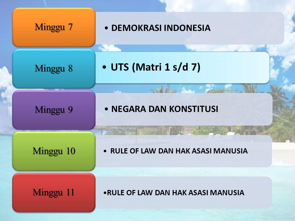 UTS (Matri 1 s/d 7) DEMOKRASI INDONESIA Minggu 7 Minggu 8