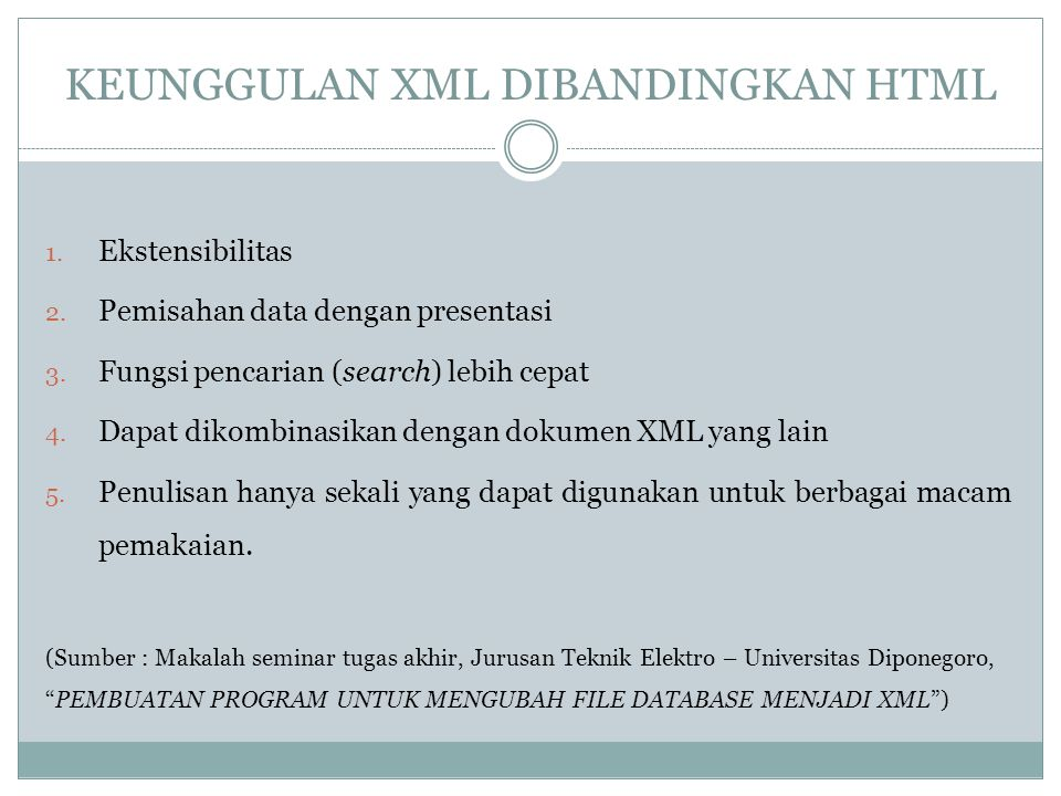KEUNGGULAN XML DIBANDINGKAN HTML