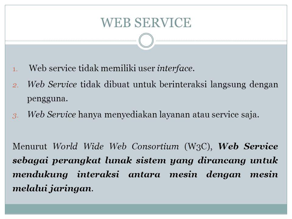 WEB SERVICE Web service tidak memiliki user interface.