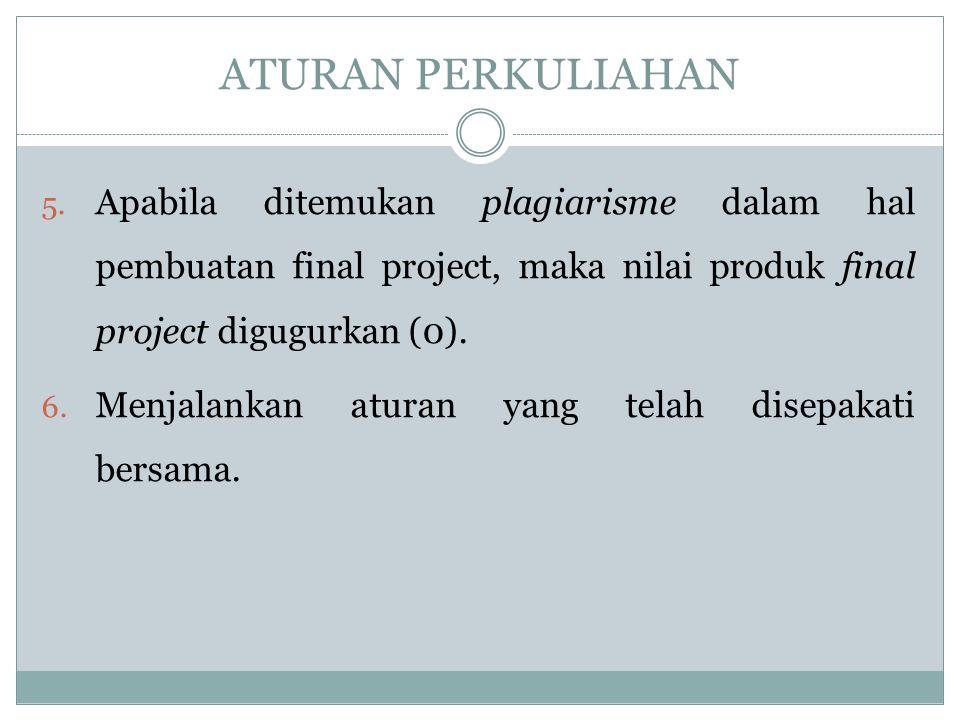 ATURAN PERKULIAHAN Apabila ditemukan plagiarisme dalam hal pembuatan final project, maka nilai produk final project digugurkan (0).