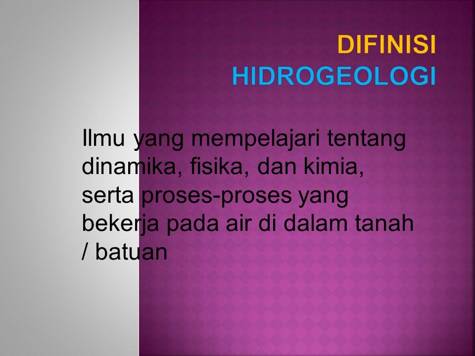Difinisi HIDROGEOLOGI