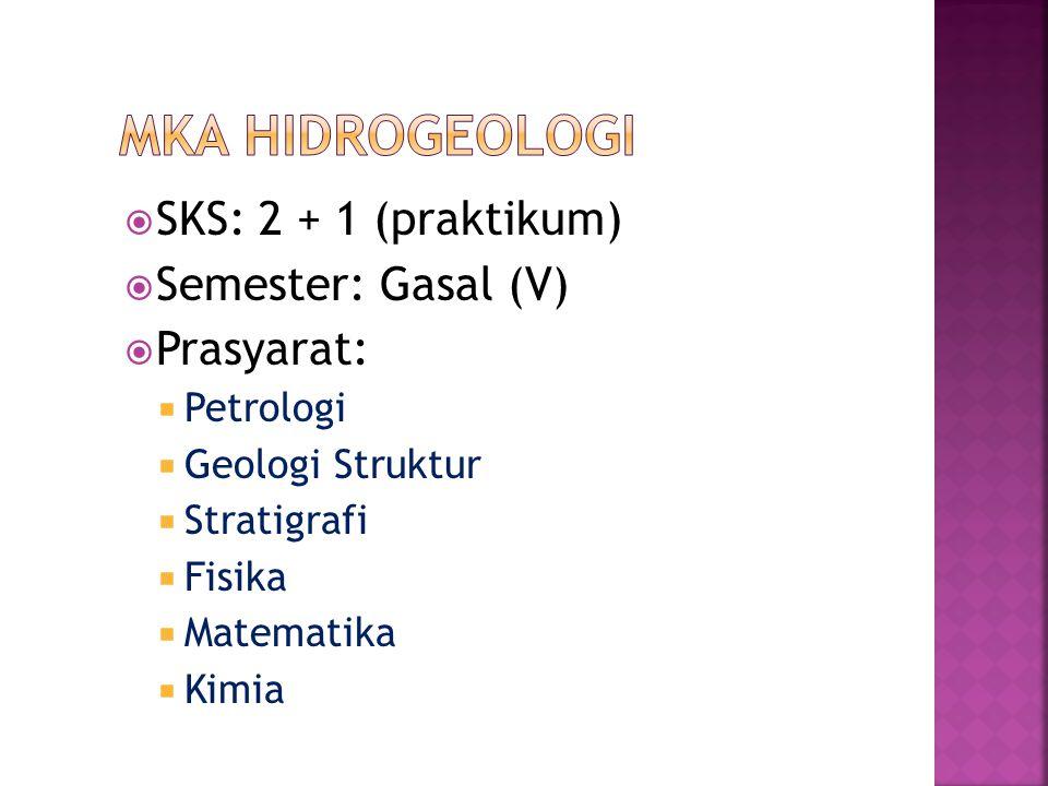 MKA HIDROGEOLOGI SKS: 2 + 1 (praktikum) Semester: Gasal (V) Prasyarat: