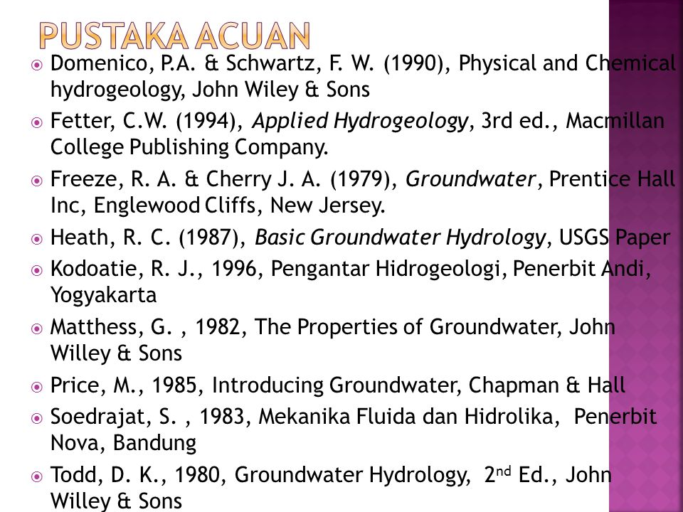 Pustaka Acuan Domenico, P.A. & Schwartz, F. W. (1990), Physical and Chemical hydrogeology, John Wiley & Sons.