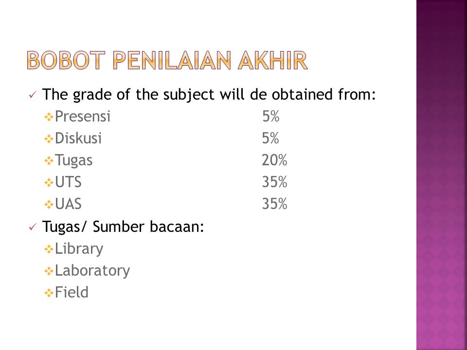 Bobot Penilaian AKHIR The grade of the subject will de obtained from: