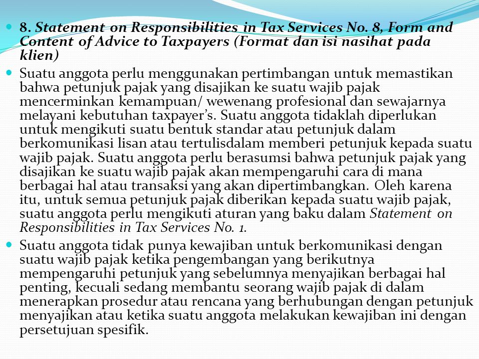 8. Statement on Responsibilities in Tax Services No