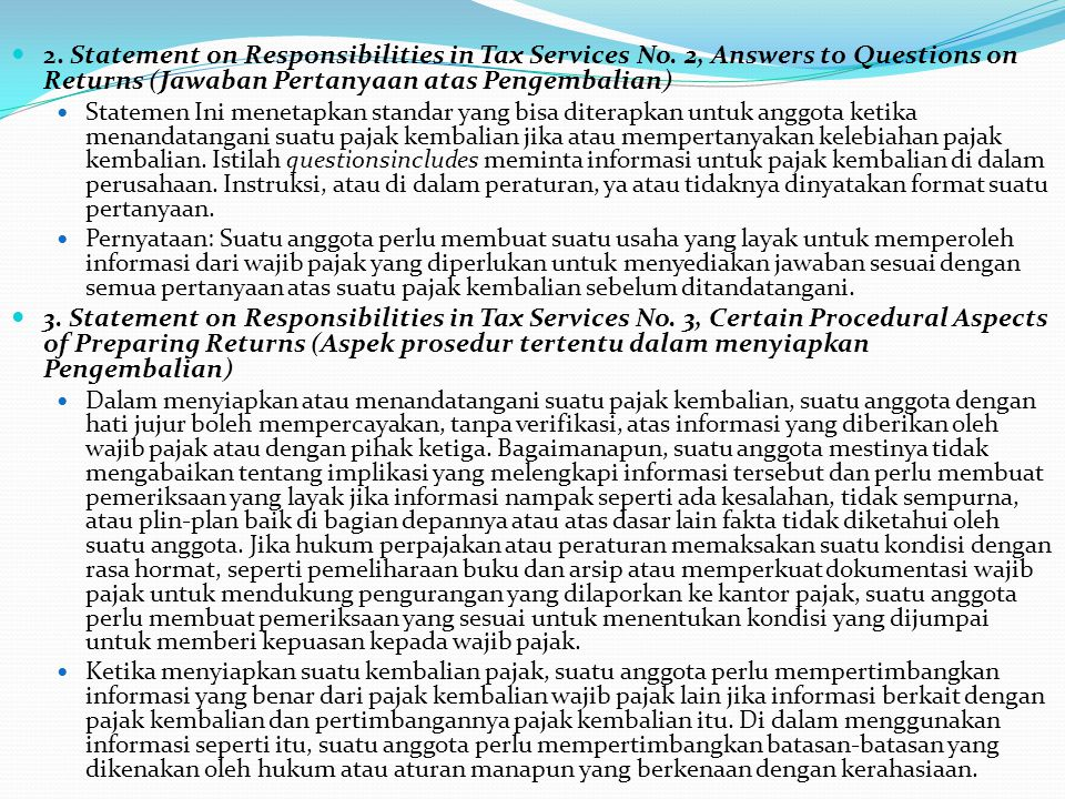 2. Statement on Responsibilities in Tax Services No