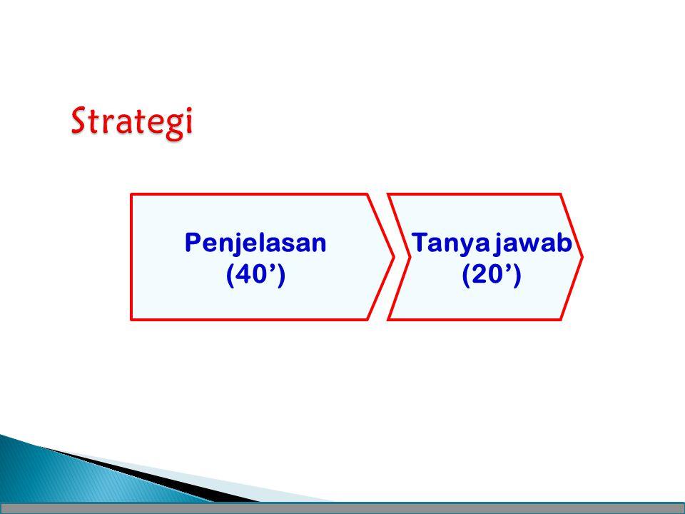Strategi Penjelasan (40') Tanya jawab (20')