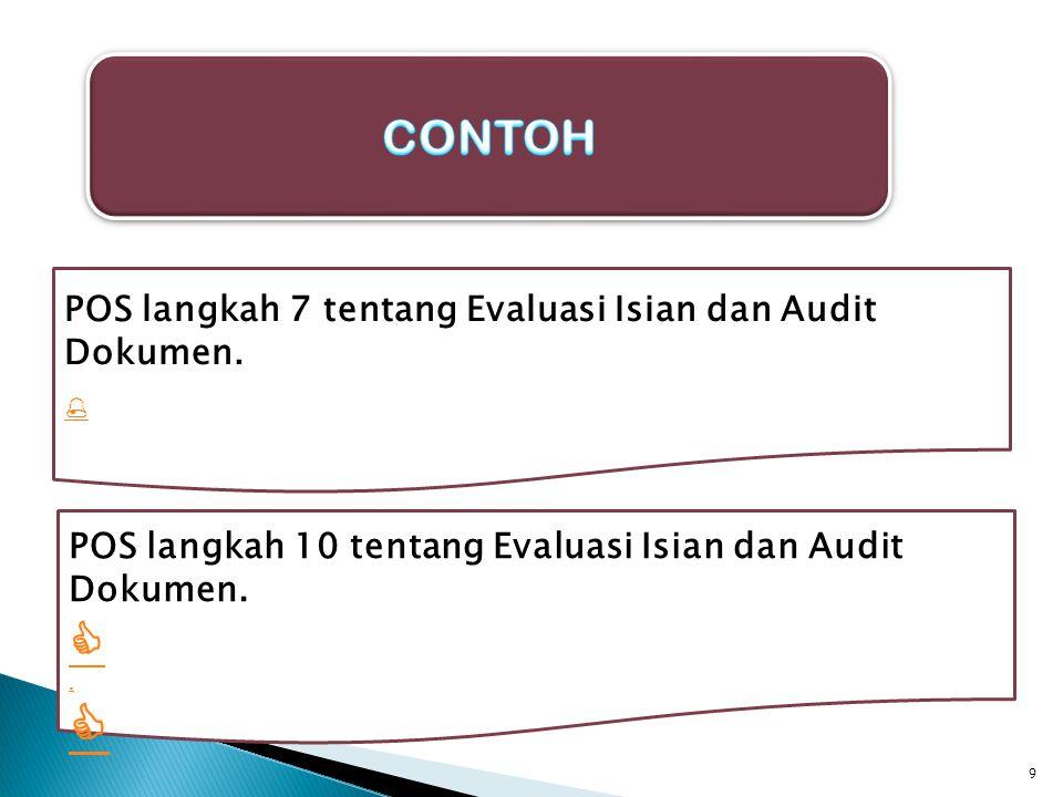  CONTOH POS langkah 7 tentang Evaluasi Isian dan Audit Dokumen.