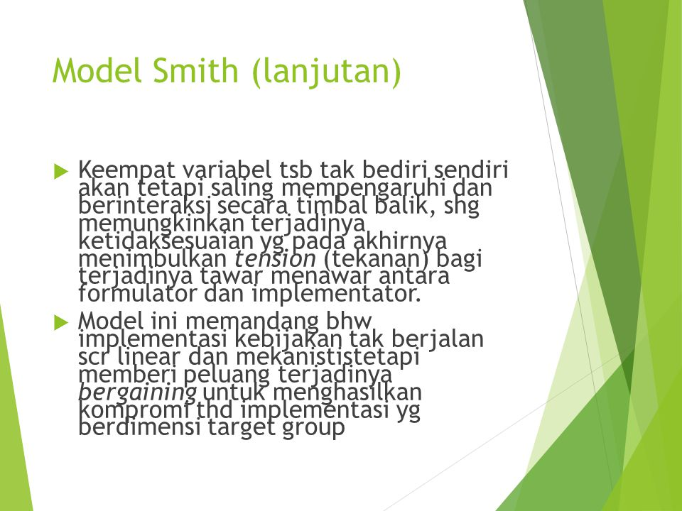 Model Smith (lanjutan)