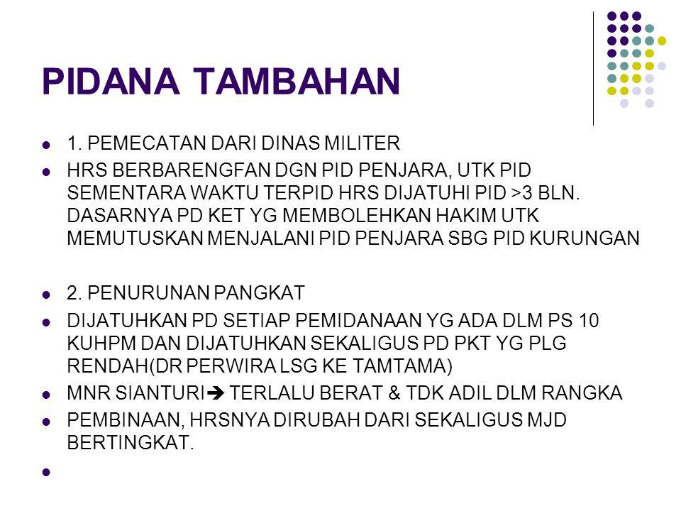 PIDANA TAMBAHAN 1. PEMECATAN DARI DINAS MILITER