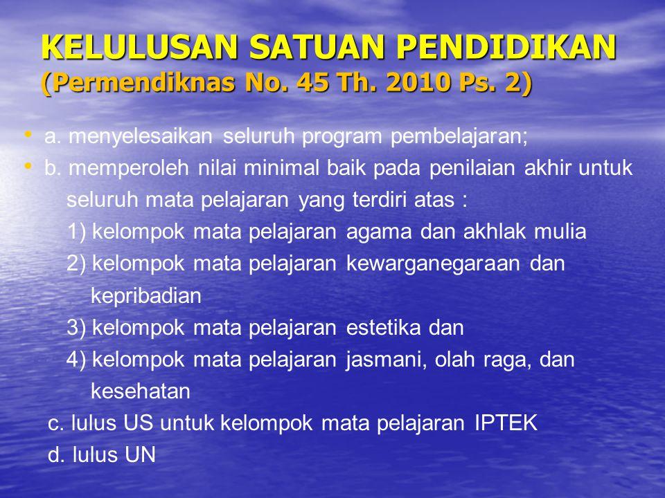 KELULUSAN SATUAN PENDIDIKAN (Permendiknas No. 45 Th. 2010 Ps. 2)