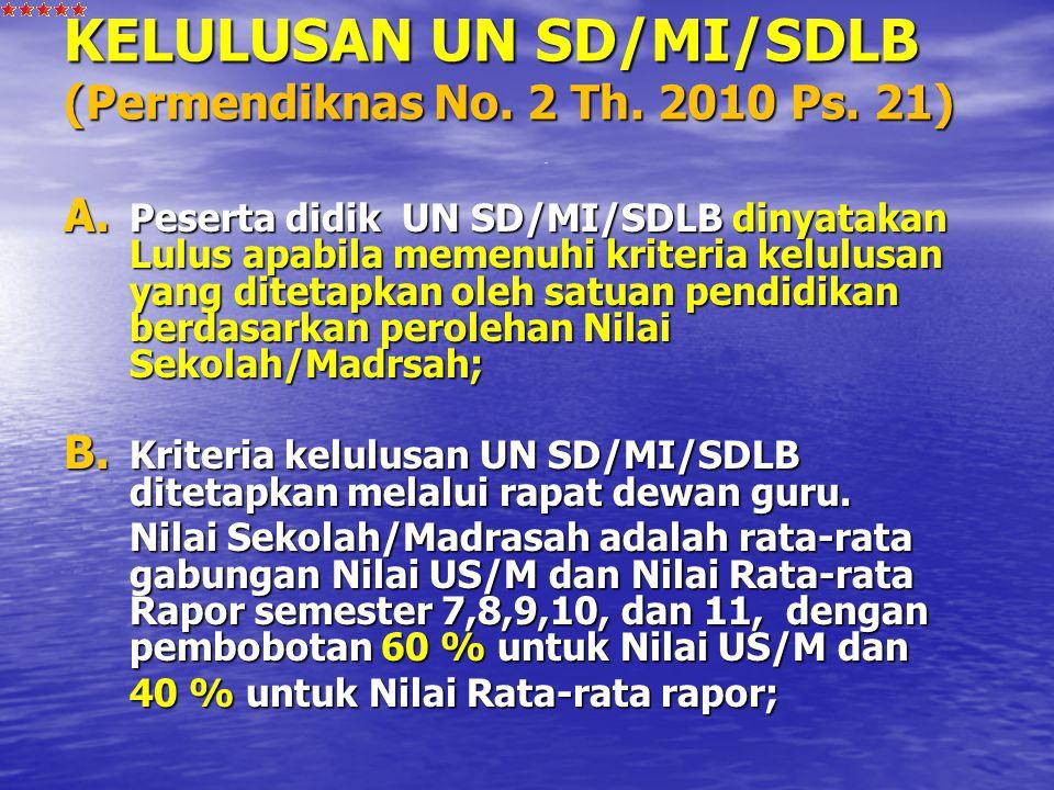 KELULUSAN UN SD/MI/SDLB (Permendiknas No. 2 Th. 2010 Ps. 21)