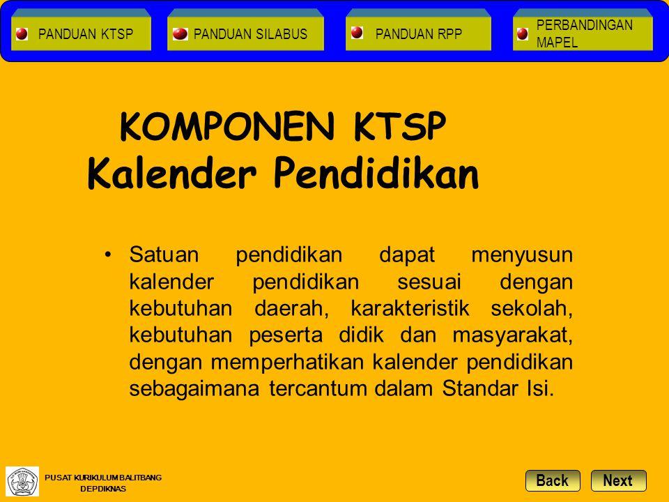 KOMPONEN KTSP Kalender Pendidikan