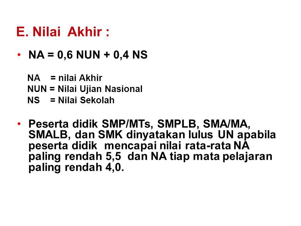 E. Nilai Akhir : NA = 0,6 NUN + 0,4 NS