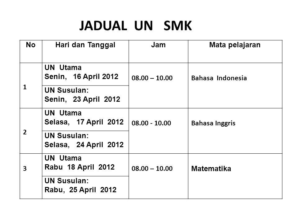 JADUAL UN SMK No Hari dan Tanggal Jam Mata pelajaran 1 UN Utama