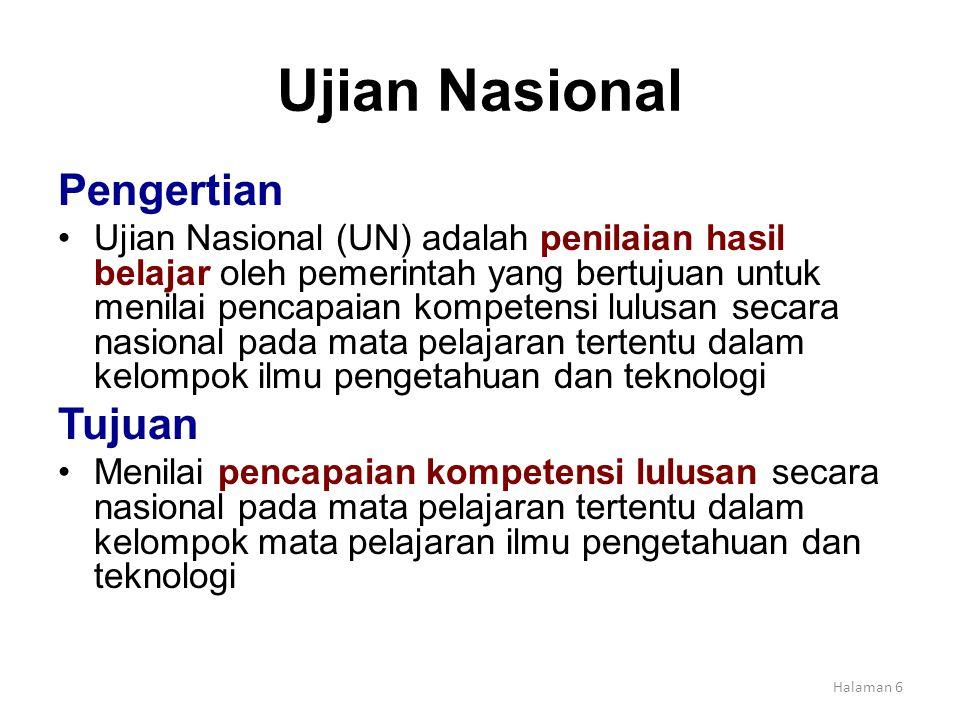 Ujian Nasional Pengertian Tujuan