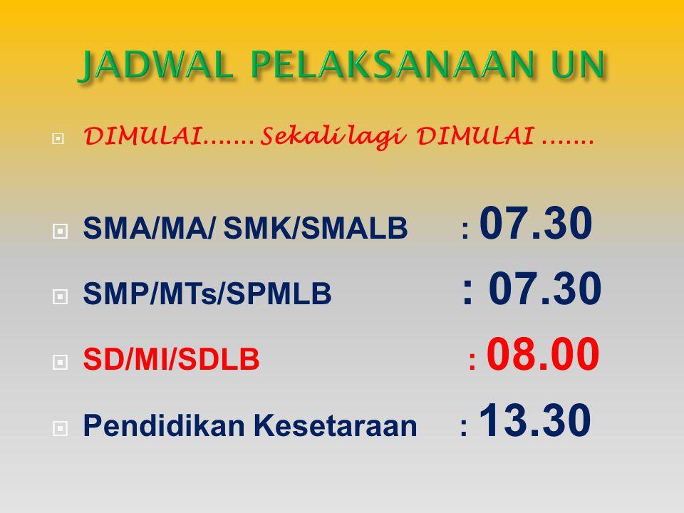 JADWAL PELAKSANAAN UN SMA/MA/ SMK/SMALB : 07.30 SMP/MTs/SPMLB : 07.30