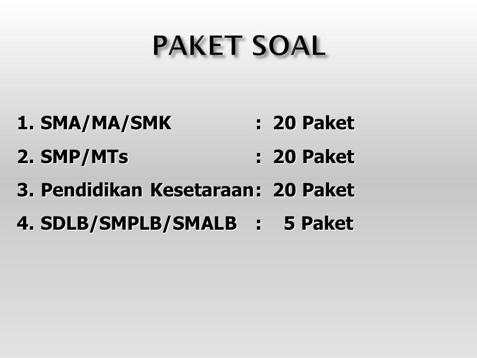 PAKET SOAL SMA/MA/SMK : 20 Paket SMP/MTs : 20 Paket