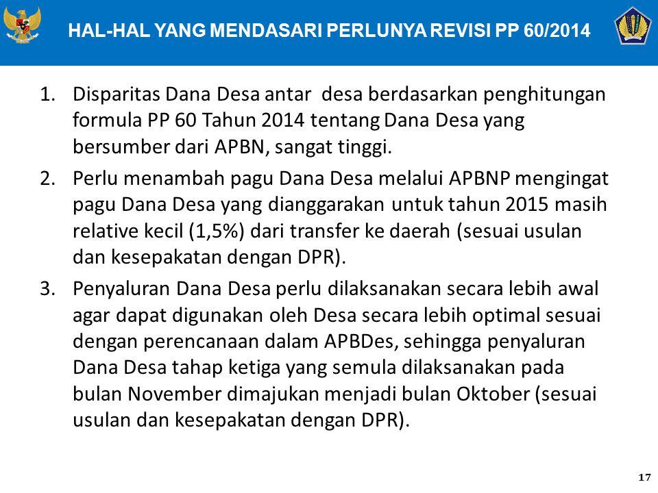 HAL-HAL YANG MENDASARI PERLUNYA REVISI PP 60/2014