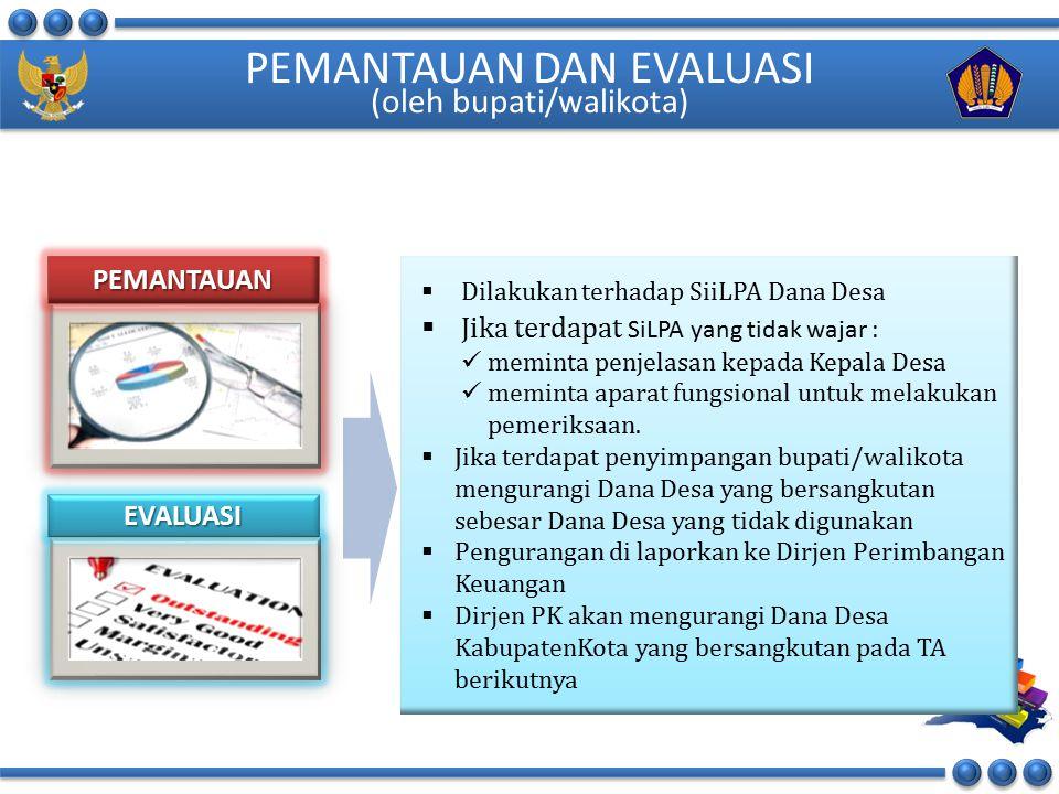 PEMANTAUAN DAN EVALUASI (oleh bupati/walikota)
