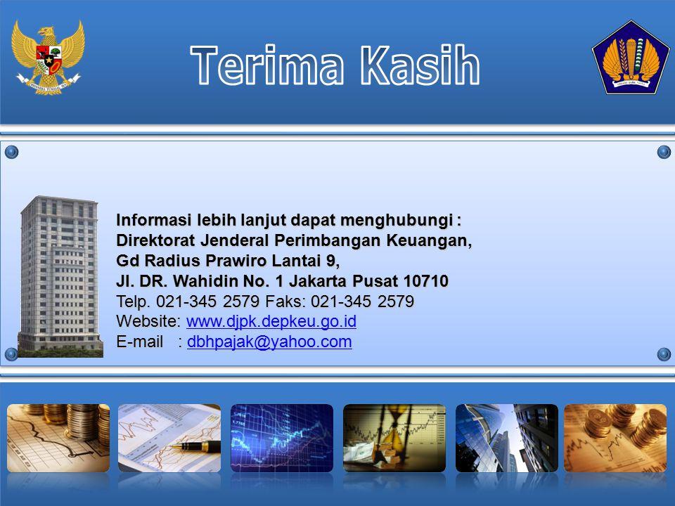 Terima Kasih Informasi lebih lanjut dapat menghubungi : Direktorat Jenderal Perimbangan Keuangan, Gd Radius Prawiro Lantai 9,
