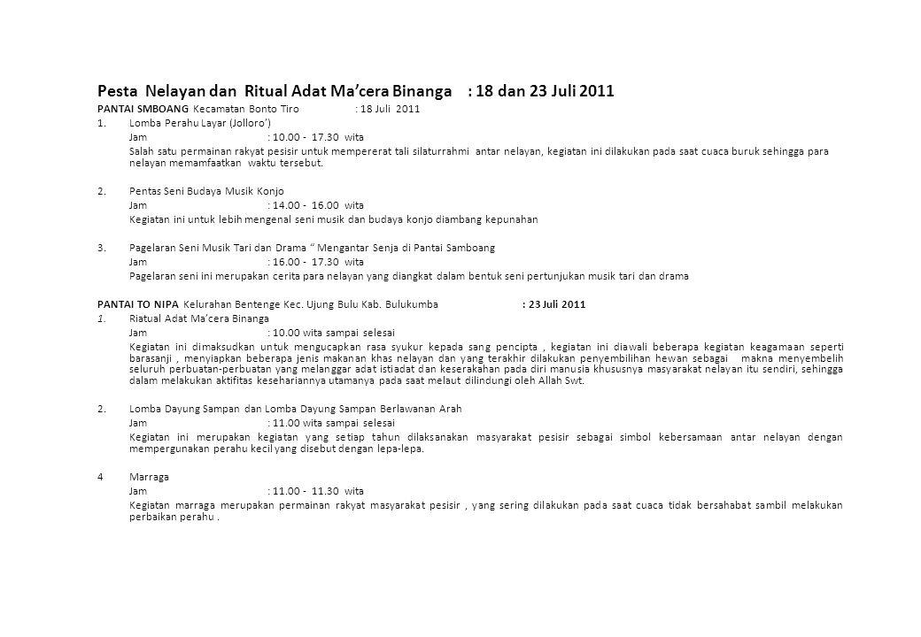 Pesta Nelayan dan Ritual Adat Ma'cera Binanga : 18 dan 23 Juli 2011