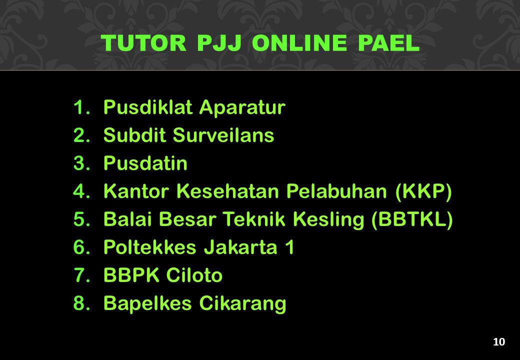 TUTOR PJJ ONLINE PAEL Pusdiklat Aparatur Subdit Surveilans Pusdatin