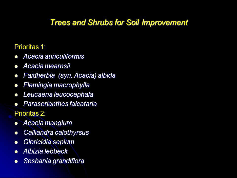 Trees and Shrubs for Soil Improvement