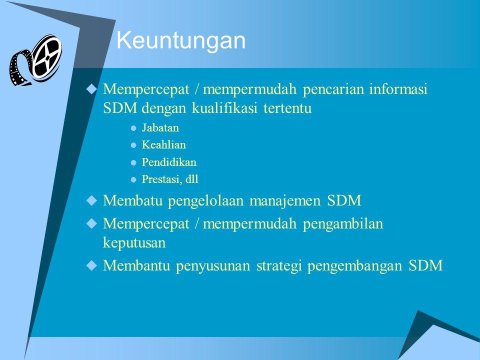 Keuntungan Mempercepat / mempermudah pencarian informasi SDM dengan kualifikasi tertentu. Jabatan.