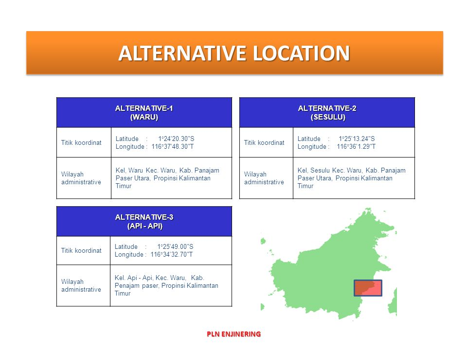 ALTERNATIVE LOCATION PLN ENJINERING ALTERNATIVE-1 (WARU) ALTERNATIVE-2