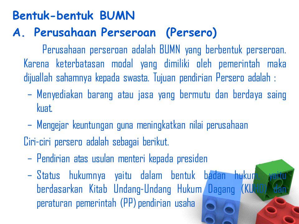 Bentuk-bentuk BUMN Perusahaan Perseroan (Persero)