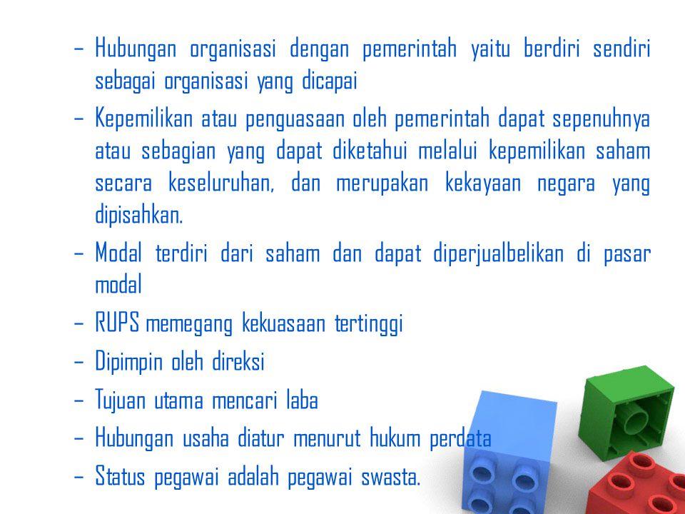 Hubungan organisasi dengan pemerintah yaitu berdiri sendiri sebagai organisasi yang dicapai