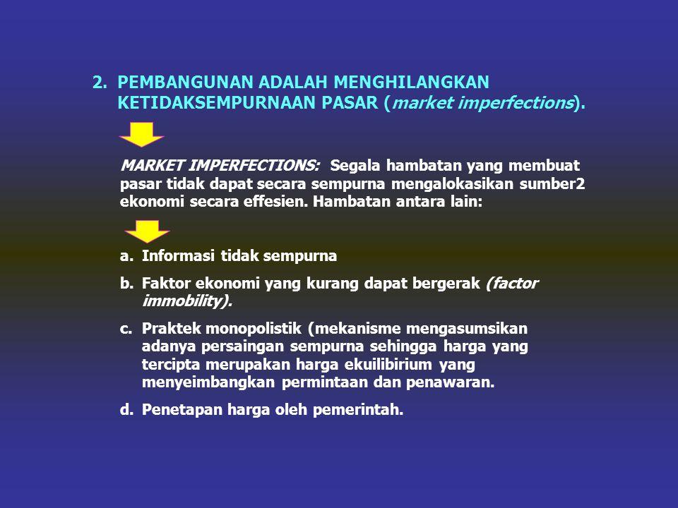 PEMBANGUNAN ADALAH MENGHILANGKAN KETIDAKSEMPURNAAN PASAR (market imperfections).