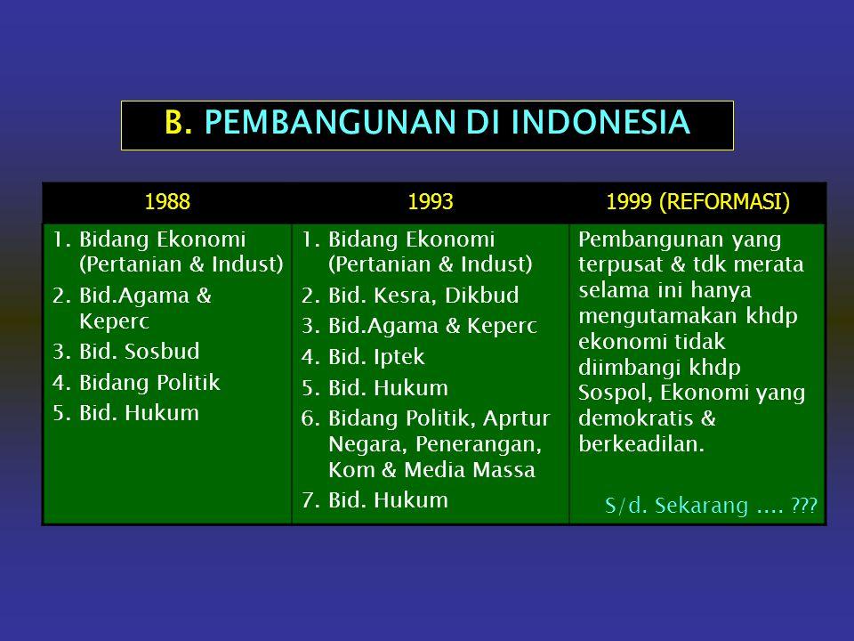 B. PEMBANGUNAN DI INDONESIA