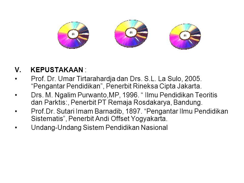 V. KEPUSTAKAAN : Prof. Dr. Umar Tirtarahardja dan Drs. S.L. La Sulo, 2005. Pengantar Pendidikan , Penerbit Rineksa Cipta Jakarta.
