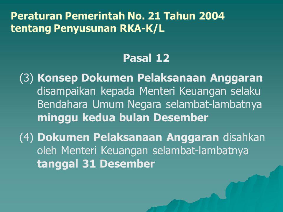 Peraturan Pemerintah No. 21 Tahun 2004 tentang Penyusunan RKA-K/L