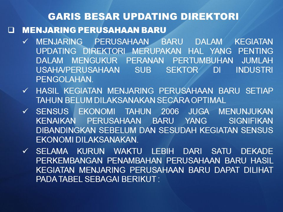GARIS BESAR UPDATING DIREKTORI