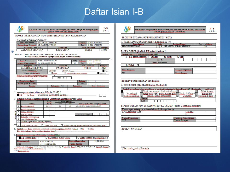 Daftar Isian I-B