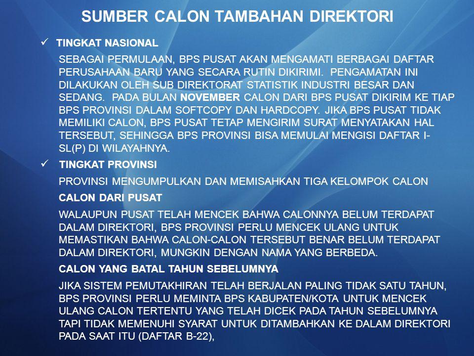SUMBER CALON TAMBAHAN DIREKTORI