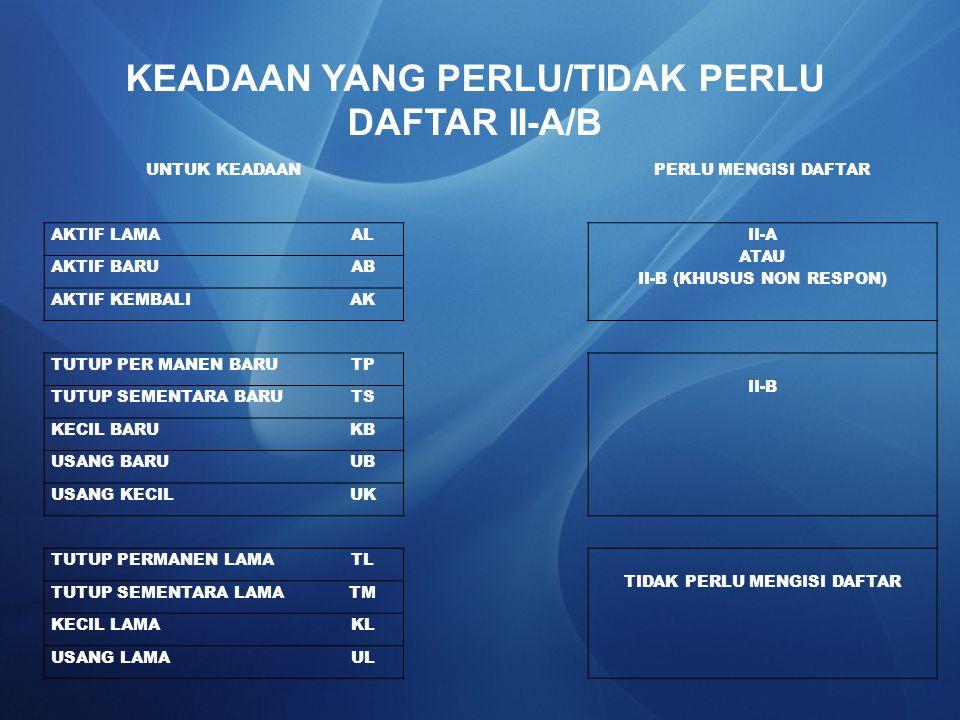 KEADAAN YANG PERLU/TIDAK PERLU DAFTAR II-A/B