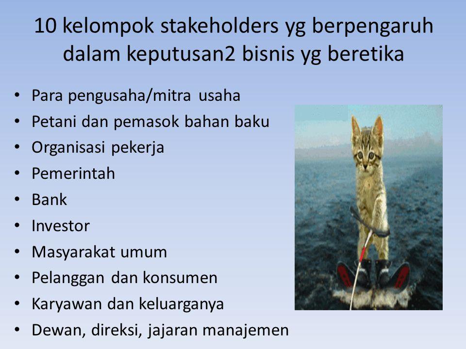 10 kelompok stakeholders yg berpengaruh dalam keputusan2 bisnis yg beretika