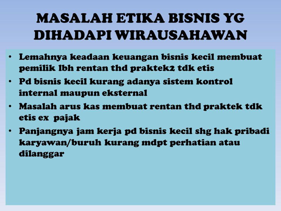 MASALAH ETIKA BISNIS YG DIHADAPI WIRAUSAHAWAN