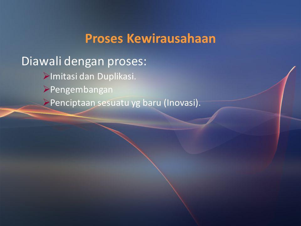 Proses Kewirausahaan Diawali dengan proses: Imitasi dan Duplikasi.