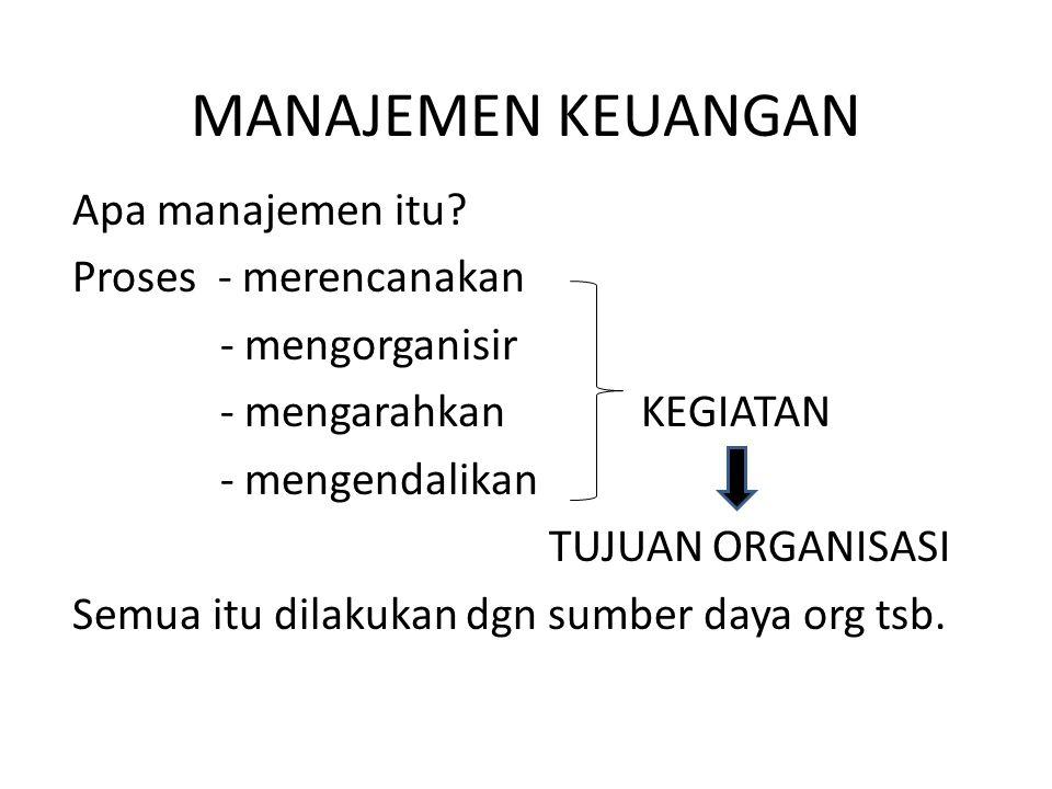 MANAJEMEN KEUANGAN Apa manajemen itu Proses - merencanakan