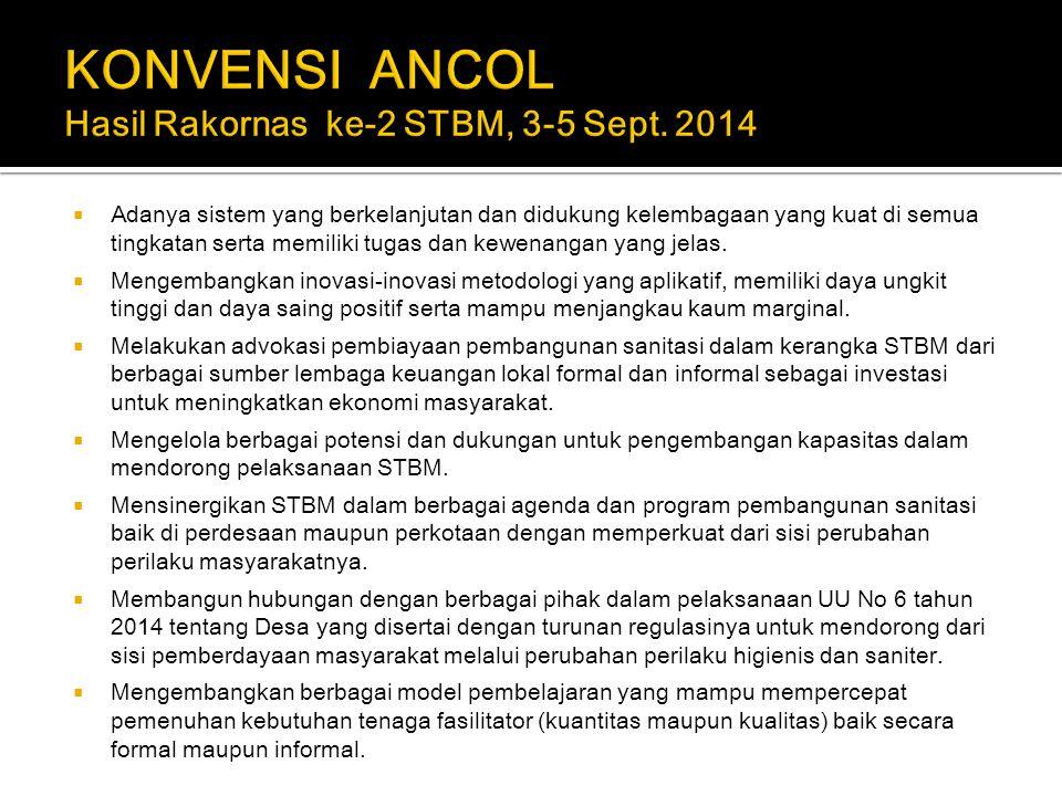 KONVENSI ANCOL Hasil Rakornas ke-2 STBM, 3-5 Sept. 2014