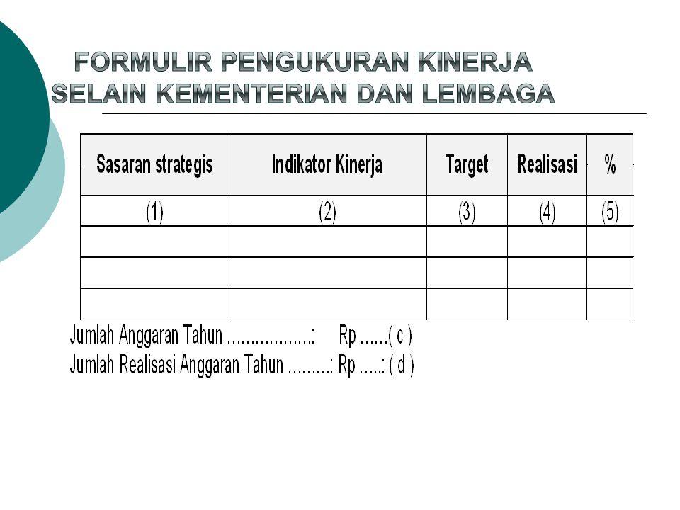 Formulir Pengukuran Kinerja Selain Kementerian dan Lembaga