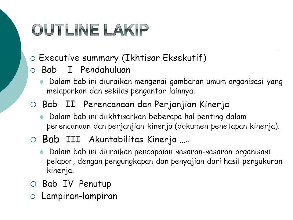 Outline LAKIP Bab II Perencanaan dan Perjanjian Kinerja