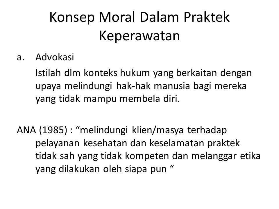 Konsep Moral Dalam Praktek Keperawatan