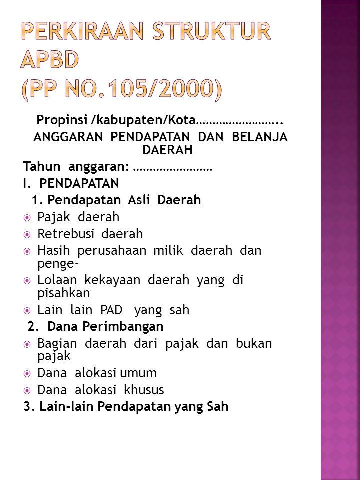PERKIRAAN STRUKTUR APBD (PP No.105/2000)